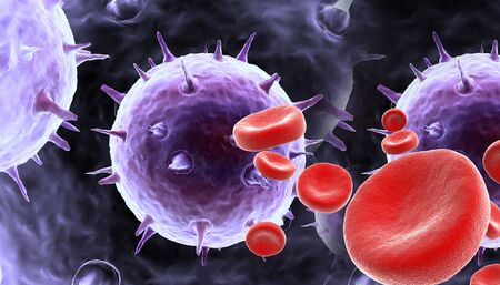 high scale magnification: blood cells with virus