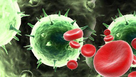 najechać: komórki krwi z wirusem