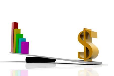Dollar balancing Graph Stock Photo - 10296218