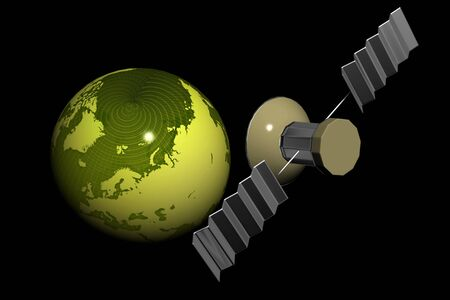 Satellite and world  in isolated background photo