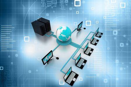 Computer Network in abstract background  Foto de archivo