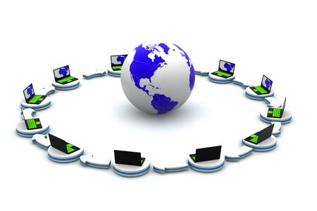 Computer network with globe Stock Photo - 11307536
