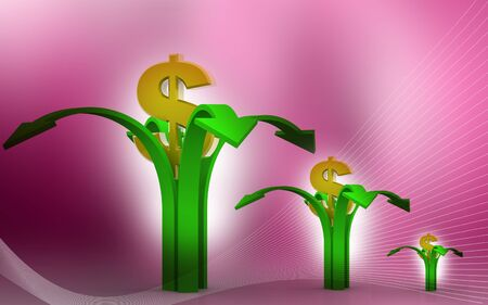positivist: Dollar around arrows in abstract  background