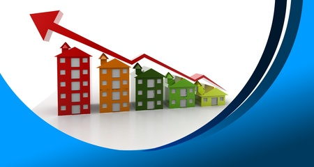 Graph houses in abstract  background  3d, illustration, abstract, background, Real Estate, House, Graph, Market, Sale, Growth, Finance, Chart, Business, Descriptive Colour, Agreement, Success, Selling, Planning, Strategy, Concepts, Solutions, In A Row, Fo illustration