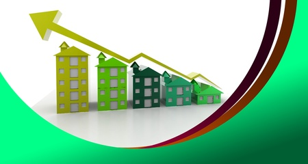 Graph houses in abstract  background  photo