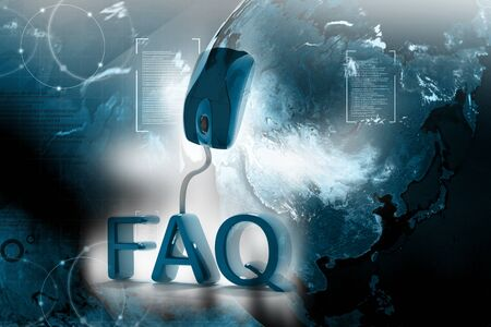 FAQs 3D Text with Computer Mouse in abstract background