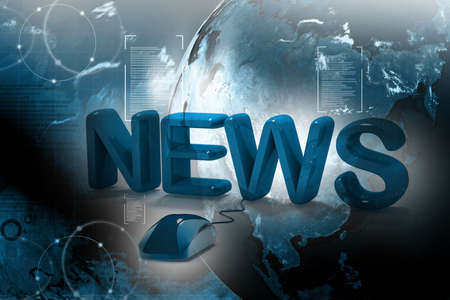 3D Word News with Computer Mouse in abstract  background  Stock Photo - 10671595