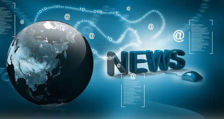 3D Word News with Computer Mouse in abstract  background  photo