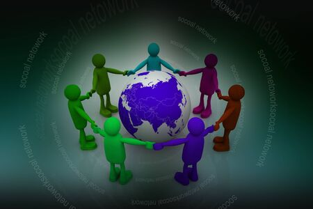 co operation: Global Network in abstract background