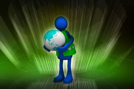 Person and Globe in abstract background photo