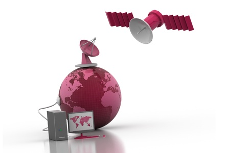 television aerial: Telecommunications Satellites Stock Photo