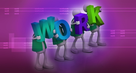 The work word in abstract background photo