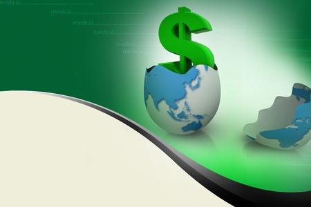 Dollar symbol in egg broken shell  photo