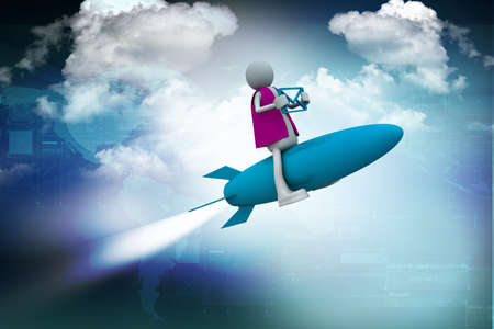 Rocket man with mail Stock Photo - 10990874