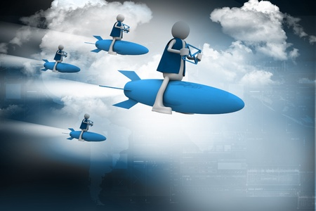 Rocket man with mail Stock Photo - 10990885