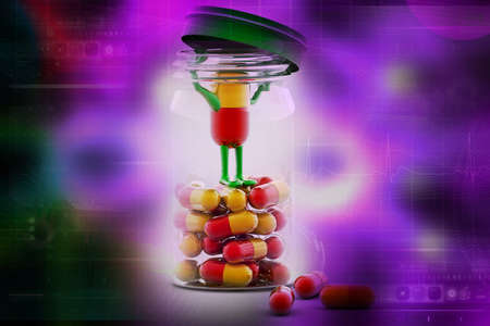strew: Pills and bottle,3d rendered illustration Stock Photo