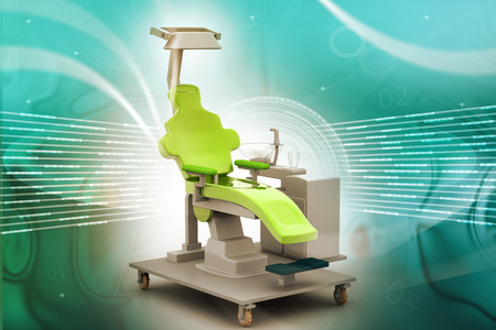 3d illustration dental chair in color background illustration
