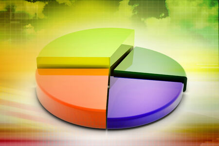 3d multi use pie chart graph in color background