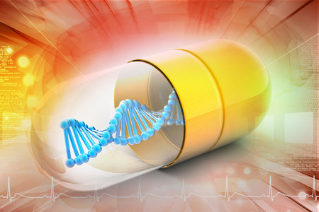 modified: 3d illustration of Dna inside the capsule Stock Photo
