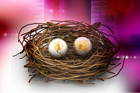 safe world: Two earths in being protected in a nest. Conceptual design Stock Photo