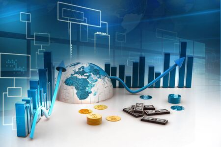 3d business graph with half earth and dollars photo