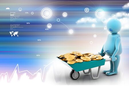 wheelbarrow: 3d multi use Gold Coin In Wheelbarrow. Business growth and profit