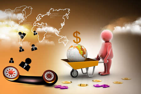 wheel barrow: 3d multi use Gold Coin In and earth Wheelbarrow. Business growth and profit