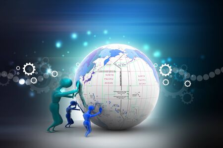 geopolitics: The strong persons push earth. Teamwork Business concept