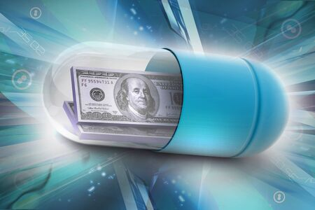 medical bills: 3d illustration of  pill filled with dollar Stock Photo