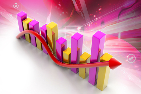 share prices: 3d multi use  business graph with arrow showing growth and profit
