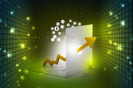 ganancias: gráfico que muestra el aumento de beneficios o ingresos Foto de archivo