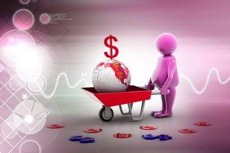 carretilla: El uso de múltiples 3d moneda de oro en este lugar y Carretilla tierra. El crecimiento del negocio y el beneficio Foto de archivo