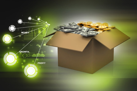 bankroll: Open Cardboard  box with money Stock Photo