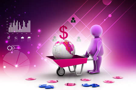gold earth: 3d multi use Gold Coin In and earth Wheelbarrow. Business growth and profit