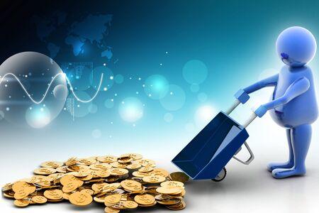carretilla: Uso de m�ltiples 3d moneda de oro en carretilla. El crecimiento del negocio y el beneficio