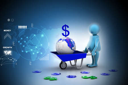 wheelbarrow: 3d multi use Gold Coin In and earth Wheelbarrow. Business growth and profit