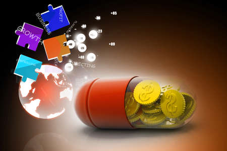 medical bills: 3d illustration of  pill filled with dollar coin