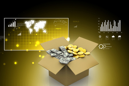 Open Cardboard  box with money Stock Photo