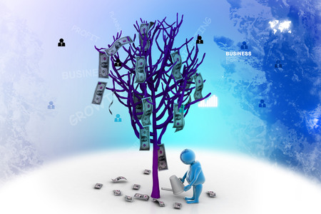 modelling: Man watering a dollar tree in white background. Conceptual 3d modelling Stock Photo