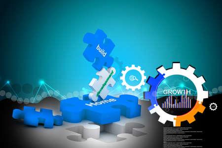color match: 3d multi use internet puzzle Stock Photo
