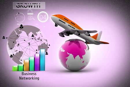depart: 3d Air line over globe Stock Photo