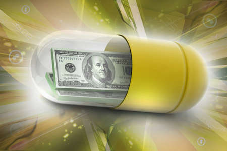 medical bill: 3d illustration of  pill filled with dollar Stock Photo