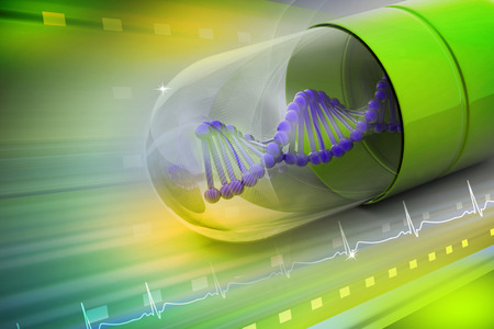 antibiotic pink pill: 3d illustration of Dna inside the capsule Stock Photo