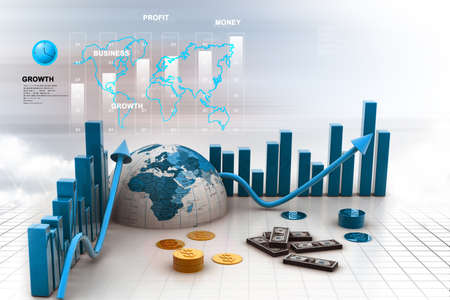 increment: 3d business graph with half earth and dollars Stock Photo