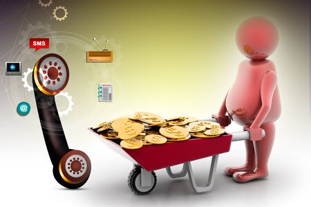 wheel barrow: 3d multi use Gold Coin In Wheelbarrow. Business growth and profit