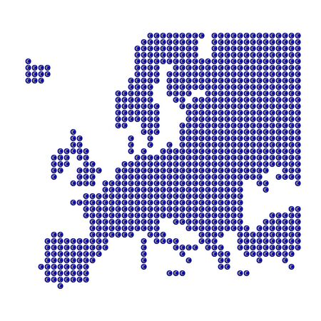 Map of Europe with blue dots and Euro sign photo