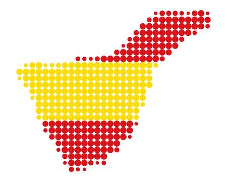bandiera spagnola: Mappa di Tenerife in colori della bandiera spagnola