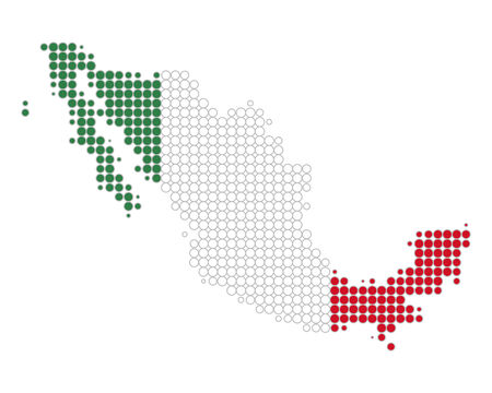 Map and flag of Mexico Illustration
