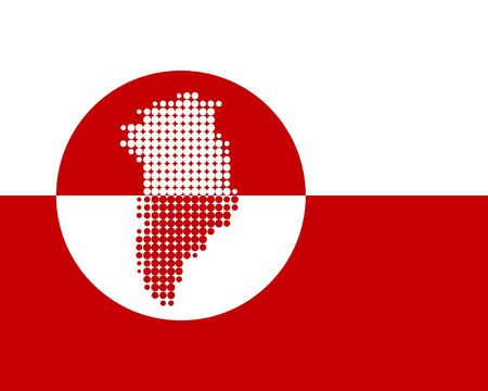 greenland: Map and flag of Greenland Illustration