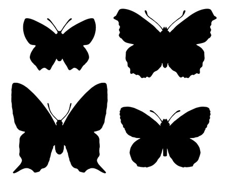 moths: Butterfly silhouettes Illustration